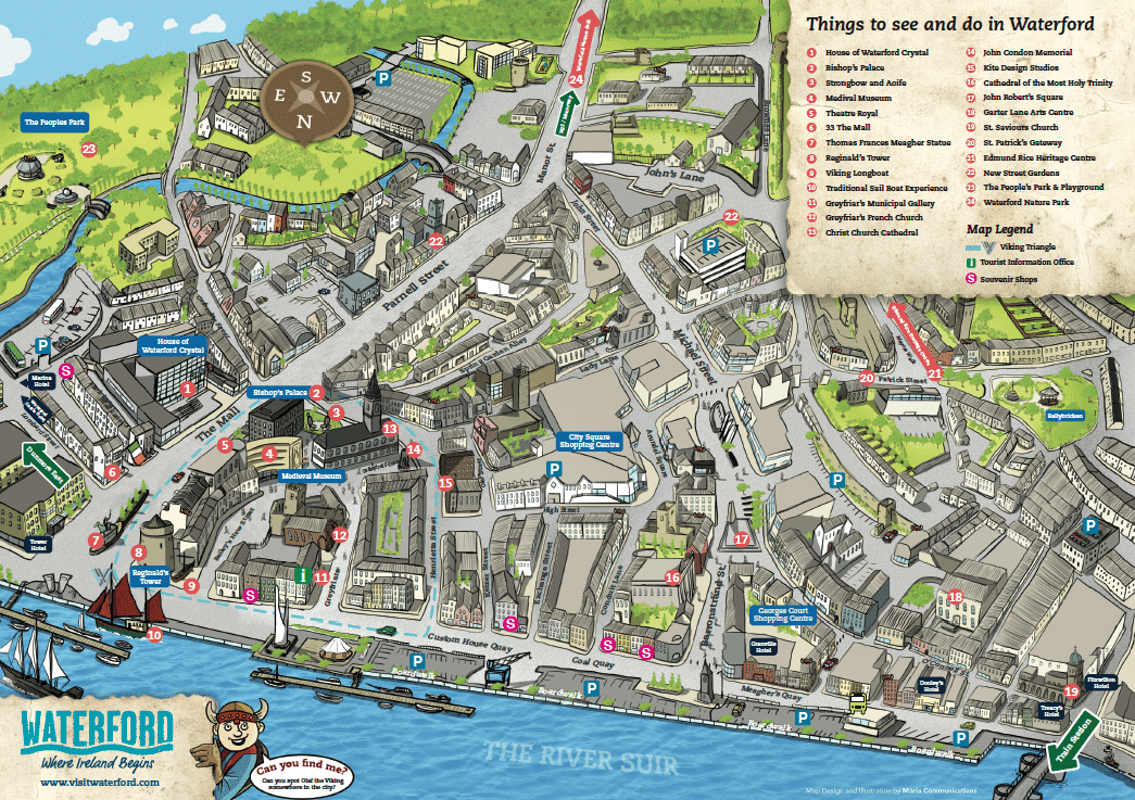 Map Of Ireland Cities And Towns.Illustrated Maps Graphic Design Agency Marla Communications