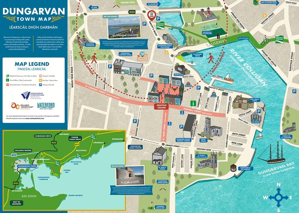Illustrated Maps - Dungarvan Town Wayfinding Map
