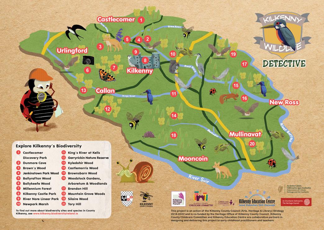 Illustrated Maps - Kilkenny Wildlife Detective Map