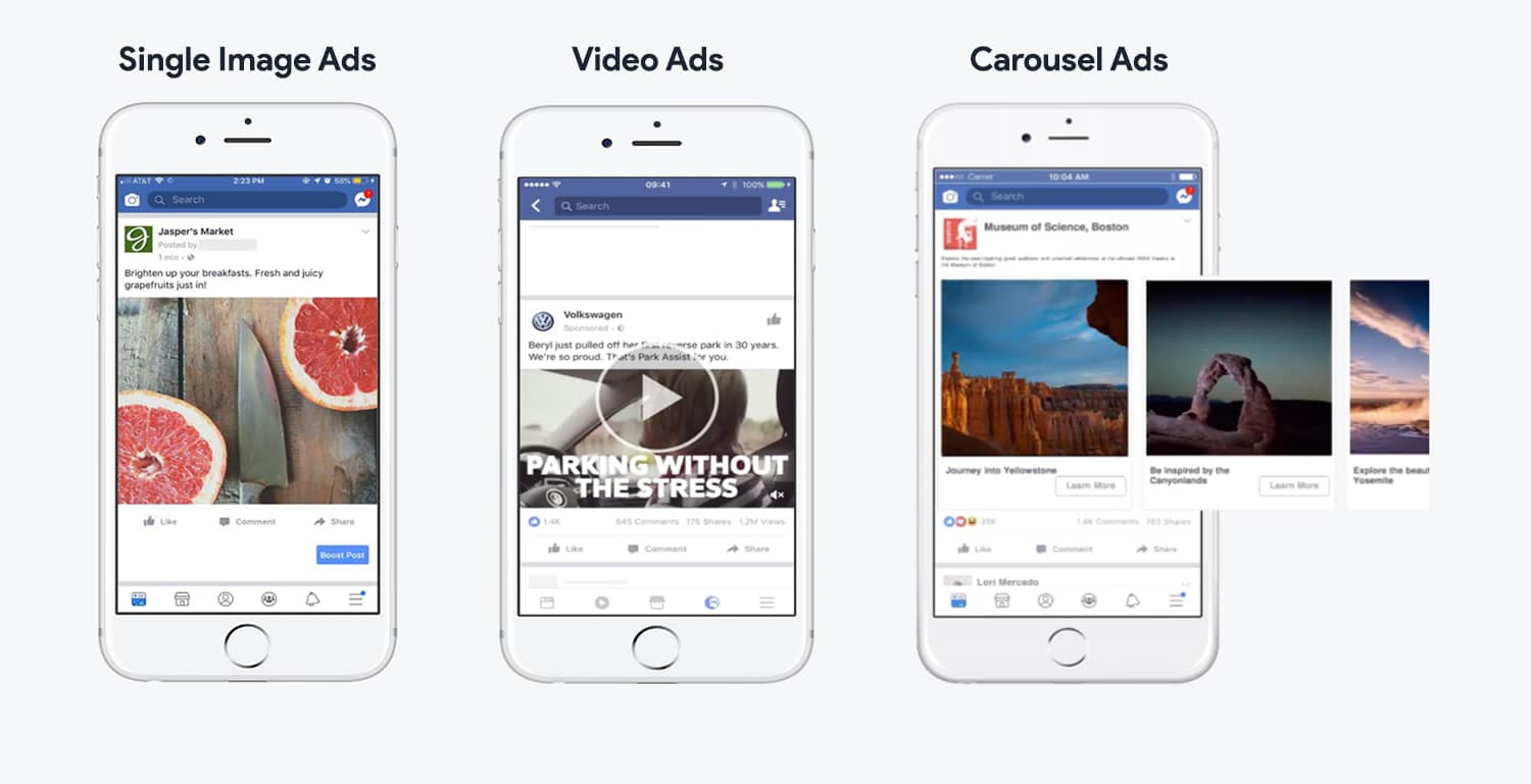 Facebook Ad Types   Single Image Ads   Video Ads   Carousel Ads